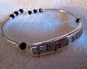 Musical Notes Silver Bracelet