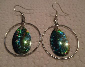 Blue/Green Iridescent Earrings
