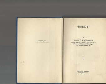 VINTAGE BOOK, 1919 Sound Hardcover Book, Buddy By Mary Waggaman, Error On Page 157 Denotes First Edition, Dialect, Vintage Fiction,