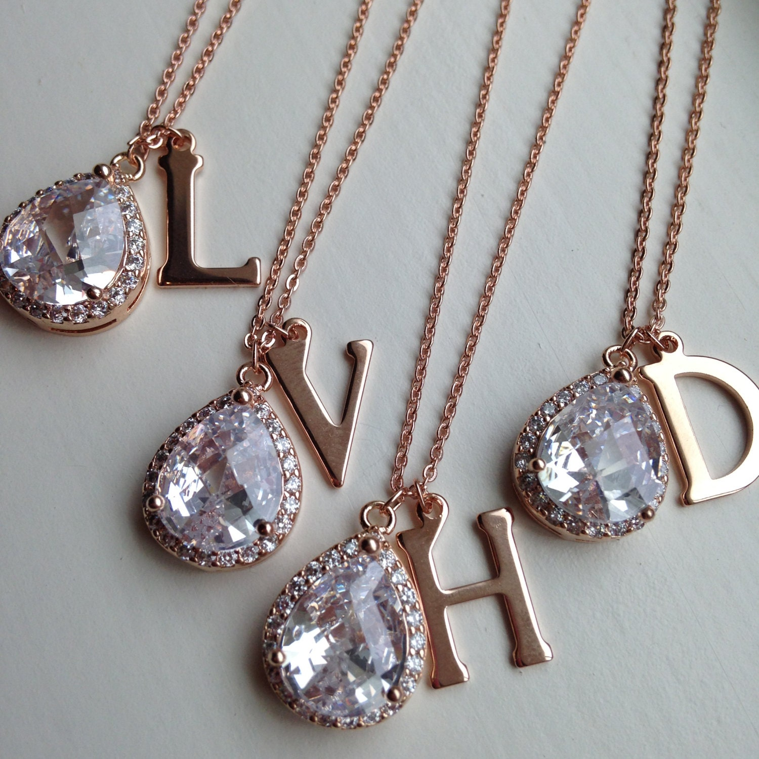 Large Rose Gold Initial Necklace - Rose Gold CZ Jewelry - Clear Crystal Necklace - Bridal Jewelry - Bridesmaid Jewelry - Wedding Necklace