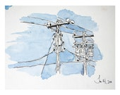"""Watercolor Painting Print Signed Archival """"Powerlines"""""""