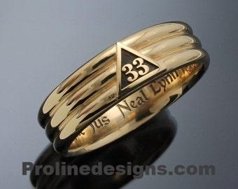 Masonic 33rd Degree Scottish Rite Ring in 14k Gold