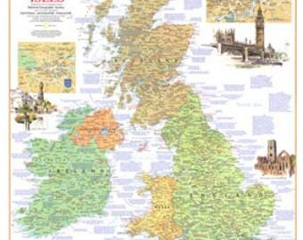 BRITISH ISLES MAP 1974 Travelers map