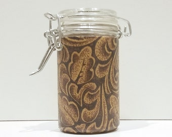 Small Glass Stash Jar : Latch Top Jar - Brown and Gold Leaves