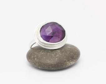 Amethyst & Sterling Ring, Rose Cut Amethyst Ring, February Birthstone, Statement Ring, Size 6.25