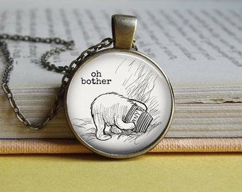 Silver or bronze Winnie The Pooh 'Oh bother' honey pot round glass dome pendant necklace