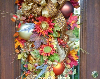 Fall or Thanksgiving Mesh SWAG with SUNFLOWERS, Fall Foliage and Beautiful LEOPARD Bow