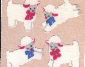 ON SALE Vintage Sandylion Fuzzy Lamb Sticker Mod on Brown Backing - Sheep Bows Scrapbook Collage