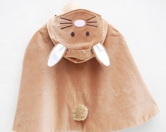Bunny Rabbit cape costume handmade in toffee velvet
