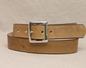 1 1/2 Inch Leather Belt - Custom Fitted - Natural Antique