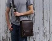 Medium Rugged Messenger Bag - Dark Brown