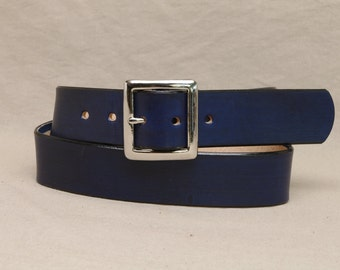 1 1/2 Inch Leather Belt - Custom Fitted - Navy Blue