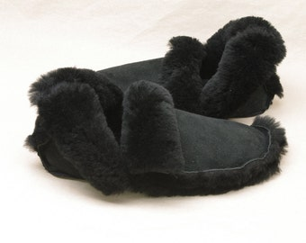 Sheepskin Slippers - Black Shearling