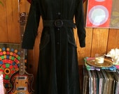 60's Goth black velvet caplet Opera coat with belt s m