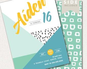 Geometric Birthday Invitation, Modern, Teen Boy Birthday, Sweet Sixteen Party, Blue, Printable Invite