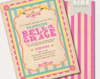 Bridal Shower Invitation, Circus / Carnival Invitation - Printable Bridal Shower Invite - VIntage Pink