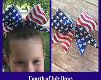 Red, white, and blue Fourth of July cheer bow, boutique bow