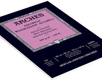 Arches Watercolor Pad Hot Press 140lb 10 x 14 - 12 Sheets