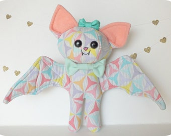 Pastel Geometric Bat Plush with Bow