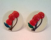 Vintage Round Earrings with Cherries Design - Post Style for Pierced Ears - Red and White Earrings
