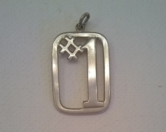 Vintage Sterling Silver #1 Pendant - 1 Inch High - Rectangular Number One Charm Pendant