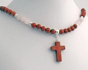 Red Jasper Cross Rose Quartz Natural Stone Pendant Necklace