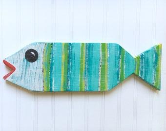 Painted Fish - Tropical Decor - Wooden Fish - Childrens Decor - Folk Art - Caribbean Colors