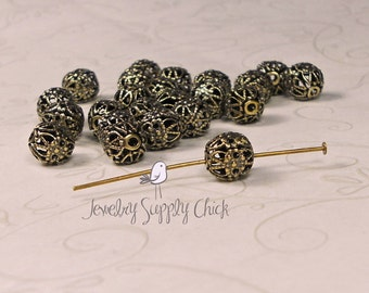 Filigree bead 7mm brass ox (x12+)