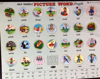 VINGAGE CHILDRENS PUZZLE, 1958' picture words, unused, Whitman Publishing