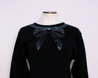 Sequin Bowtie Sweater. Women's Holiday Sweater. Women's Jumper. Feminine Top. Black Angora Sweater. Kitschy Sweater. Small Medium.