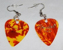 On Sale Tortoise Shell Guitar Pick Earrings Mixed Metals Handcrafted