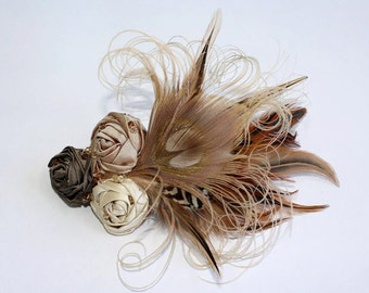 Taupe Cream and Latte Peacock Feather Hair Clip with Silk Rosettes