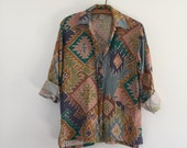 Vintage 90's Aztec Print Silk Blouse / Oversized Button Up Collar Shirt S