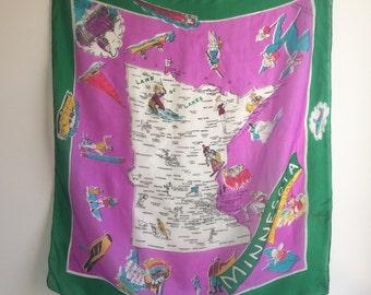 Vintage 50's Silk Minnesota Scarf / State Map Souvenir