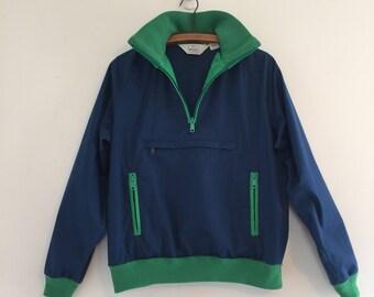 Vintage 70's Windbreaker Jacket / Navy & Green Track Pullover S M