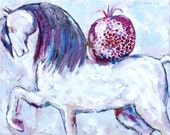 Original horse painting HORSE WITH POMEGRANATE small painting oil on canvas