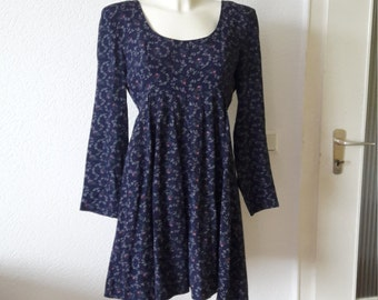 90s navy floral babydoll dress long sleeves Rampage 60s 70s vibe