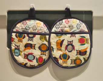 Hot Pads/Pot Holders Colorful Owls Ready To Ship