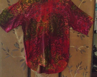 80s Indian flowered and paisley rayon shirt