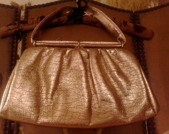80s Bright gold faux leather clutch evening bag