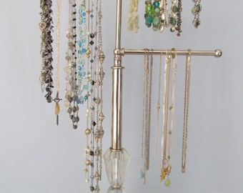 3-Arm Sparkling Jewelry Display | Adjustable | Vintage Lamp Parts | Upcycled | Modern Decor | Vintage Boudoir | Gifts for Her