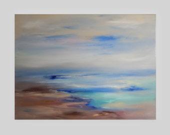 Ocean Abstract Modern Seascape Hand painted Original  Sapphire Blue Earth Tone Canvas -Serene Sea 18x24 Sherischart - Sheri Wilson