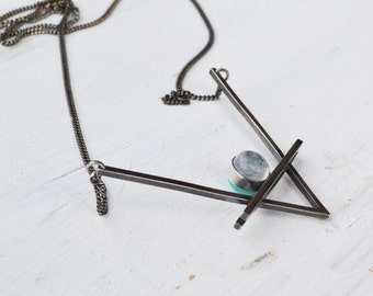 Double V ision Necklace, Turquoise, Moonstone Chevron Necklace, Silver Gemstone Pendant Necklace, Geometric Necklace, Sterling Silver