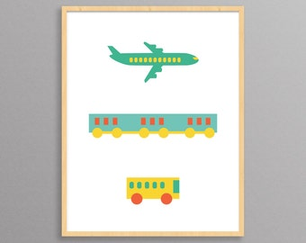 Plane, Train, Bus - a modern design print // 8.5x11 or 13x19 // poster for nursery or children
