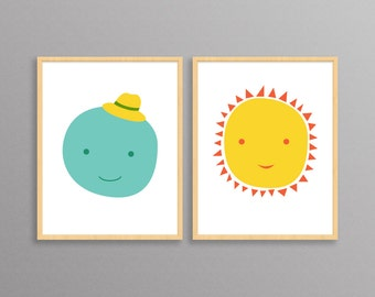 Mr. Moon & Ms. Sun - two modern design prints //  8.5x11 or 13x19 // posters for nursery or children