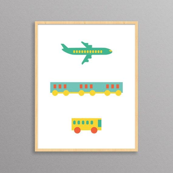 Plane, Train, Bus - a modern design print // 8.5x11 or 13x19 // poster for nursery or children