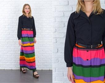 Vintage 70s MOD Striped Dress Bold Color Block Maxi Long Sleeve Medium M 5627