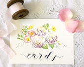 """Wedding Sign 'Cards' Watercolour & Calligraphy 5 1/2 x 8"""""""