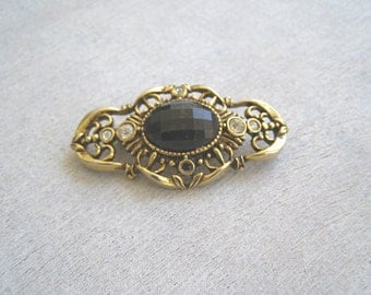 Vintage Oval Brooch Gold Black , Art Deco 60s Mod Jewelry, Midcentury Mad Men Scarf Pin,  Filigree Brooch