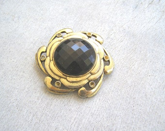 Art Nouveau Brooch, Vintage Gold Black Swirl Brooch,  Mid Century Mod Jewelry, 60s  Fashion Accessories, Mad Men Inspired, Rococo Jewelry